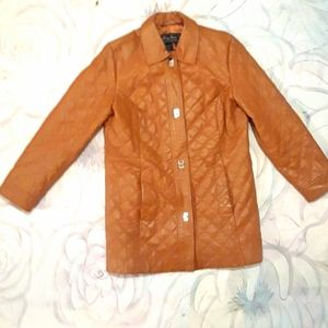 Terry Lewis Leather Coat Quilted Look